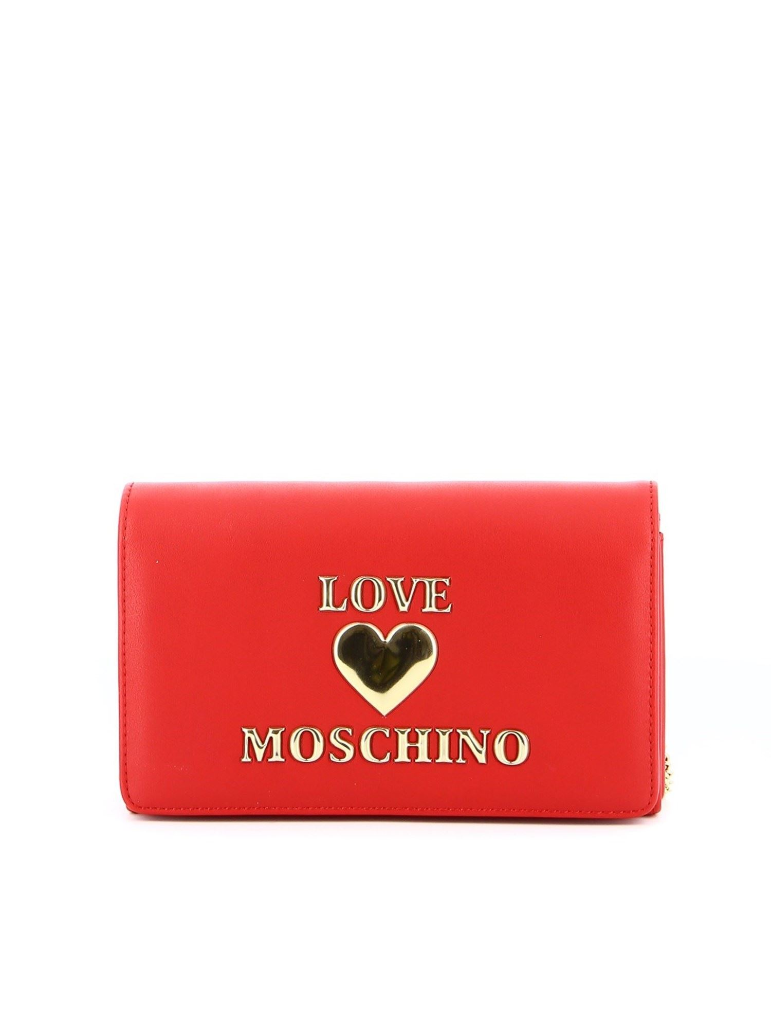 LOVE MOSCHINO METAL LOGO LETTERING BAG IN RED