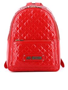 Love Moschino - Quilted backpack in red