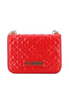 Love Moschino - Matelassé flap bag in red