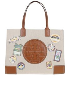 Tory Burch - Ella patch canvas tote in Natural color