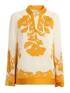 Tory Burch - Appliqué tunic in cream color and yellow