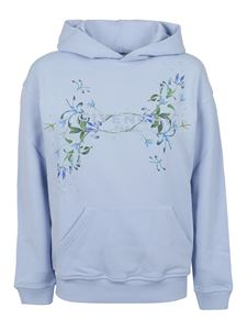 Givenchy - Logo print cotton hoodie in light blue