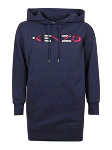 Kenzo - Logo embroidery sweatshirt-style dress in blue