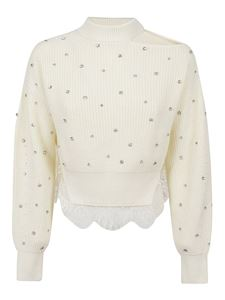Self-Portrait - Crystal and lace pullover in cream color