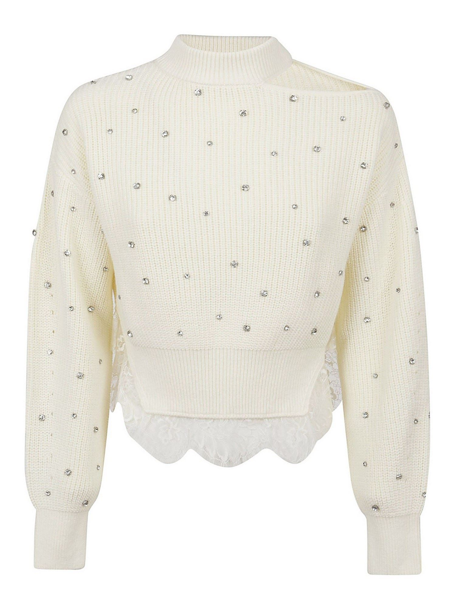 Self-Portrait CRYSTAL AND LACE PULLOVER IN CREAM COLOR