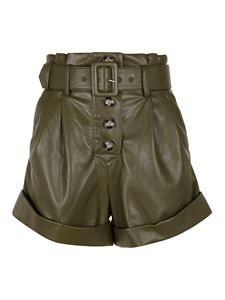 Self-Portrait - Faux leather shorts in green