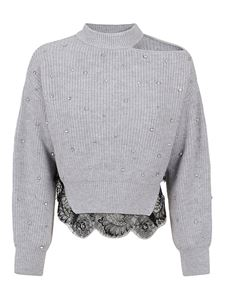 Self-Portrait - Crystals and lace pullover in grey