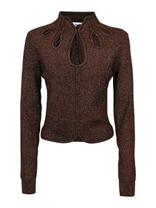 Self-Portrait - Cut out details sweater in brown