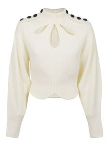 Self-Portrait - Cut out and button detail sweater in white