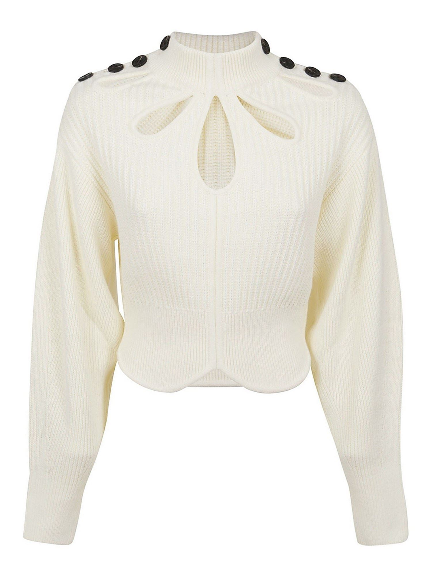 Self-Portrait CUT OUT AND BUTTON DETAIL SWEATER IN WHITE