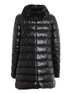 Herno - Chenille hooded puffer jacket in black