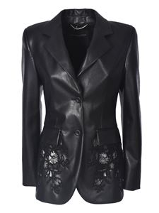 Ermanno Scervino - Synthetic leather jacket with embroidery in black