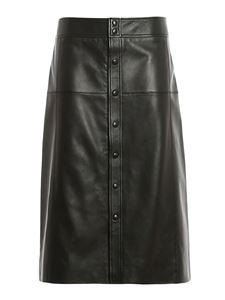 Saint Laurent - Buttons detail leather skirt in black