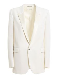 Saint Laurent - Grain de poudre tuxedo blazer in white