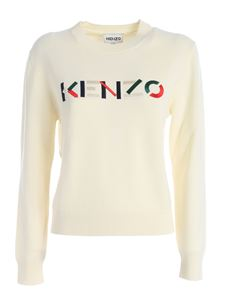 Kenzo - Embroidered multicolor logo pullover in beige
