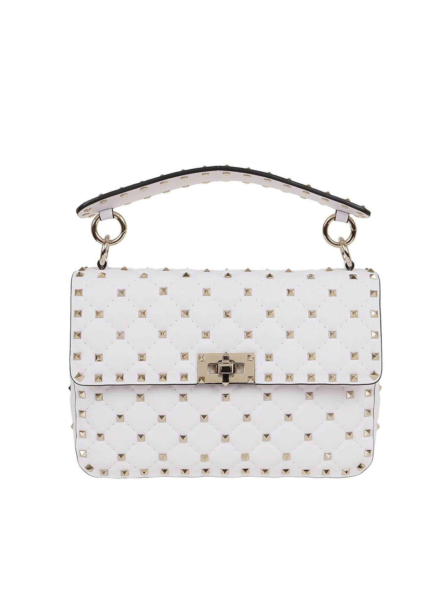 VALENTINO SPIKE MEDIUM BAG IN WHITE