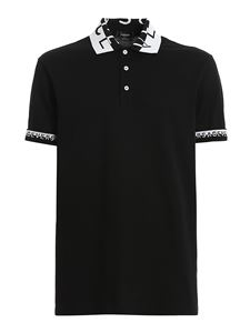 Versace - Branded collar polo in black