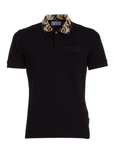 Versace Jeans Couture - Baroque printed collar polo in black