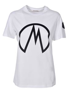 Moncler - T-shirt with logo print in white