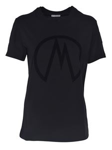 Moncler - T-shirt with logo print in black