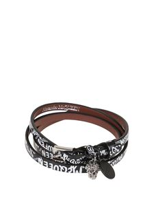 Alexander McQueen - Leather triple wrap bracelet in black