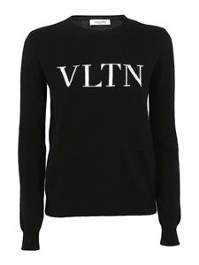 Valentino - Logo intarsia wool blend sweater in black