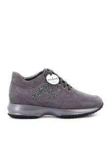 Hogan - Interactive glittered H sneakers on grey