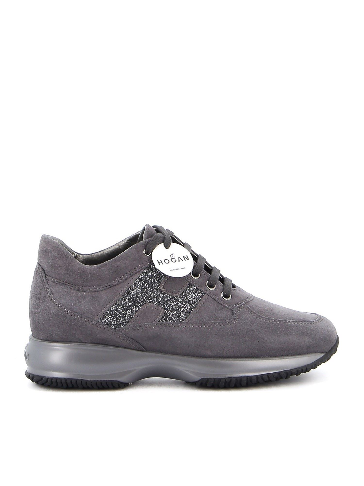 Hogan Suedes INTERACTIVE GLITTERED H SNEAKERS ON GREY