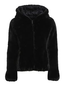 Save the duck - Eco fur and nylon reversible down jacket in black