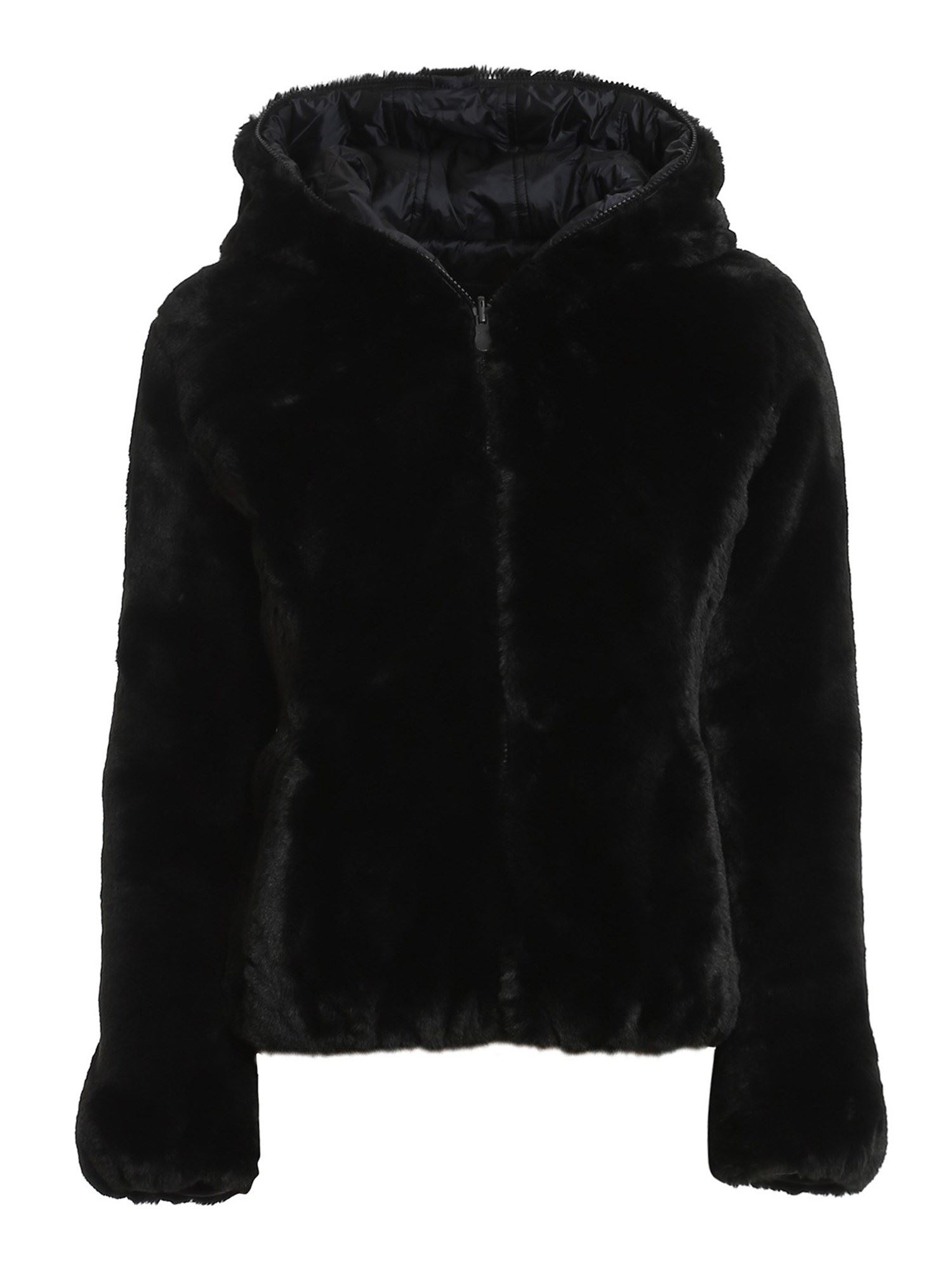 Save The Duck ECO FUR AND NYLON REVERSIBLE DOWN JACKET IN BLACK