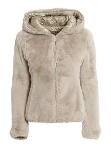 Save the duck - Eco fur and nylon reversible down jacket in beige