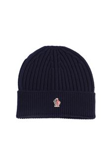 Moncler Grenoble - Logo patch virgin wool beanie in blue