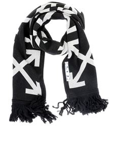 Off-White - Cotton blend scarf in black and white