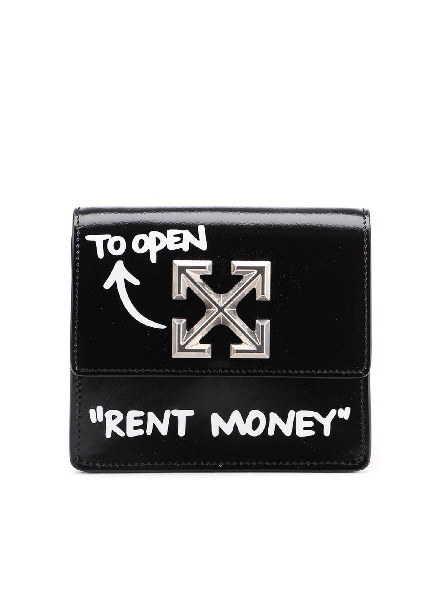Off-White JITNEY 0.7 POLISHED LEATHER BAG IN BLACK