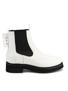 Off-White - Leather Chelsea ankle boots in white