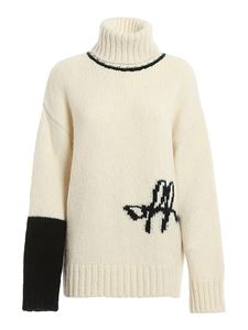 Off-White - Logo intarsia turtleneck sweater in white