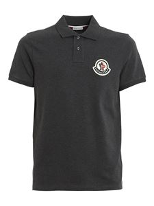 Moncler - Logo patch polo shirt in grey