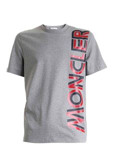 Moncler - Red and black maxi logo T-shirt in grey