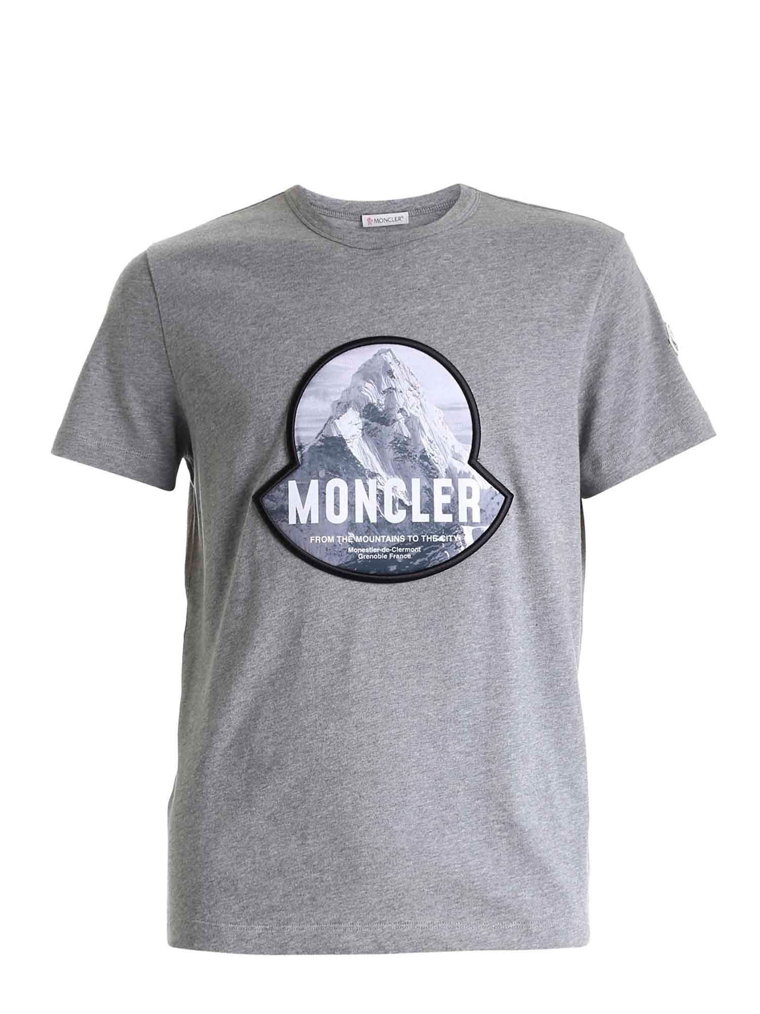 Moncler LOGO PATCH T-SHIRT IN GREY