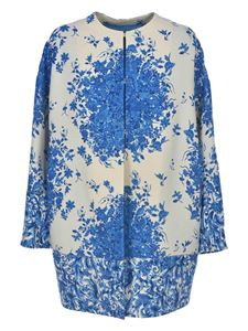 Valentino - Coat in white with blue floral print