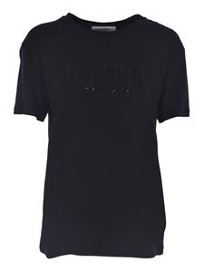 Valentino - T-shirt with VLTN embroidery in black