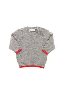 Moncler Jr - Logo patch melange pullover in grey