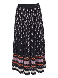 Valentino - Printed black pleated skirt