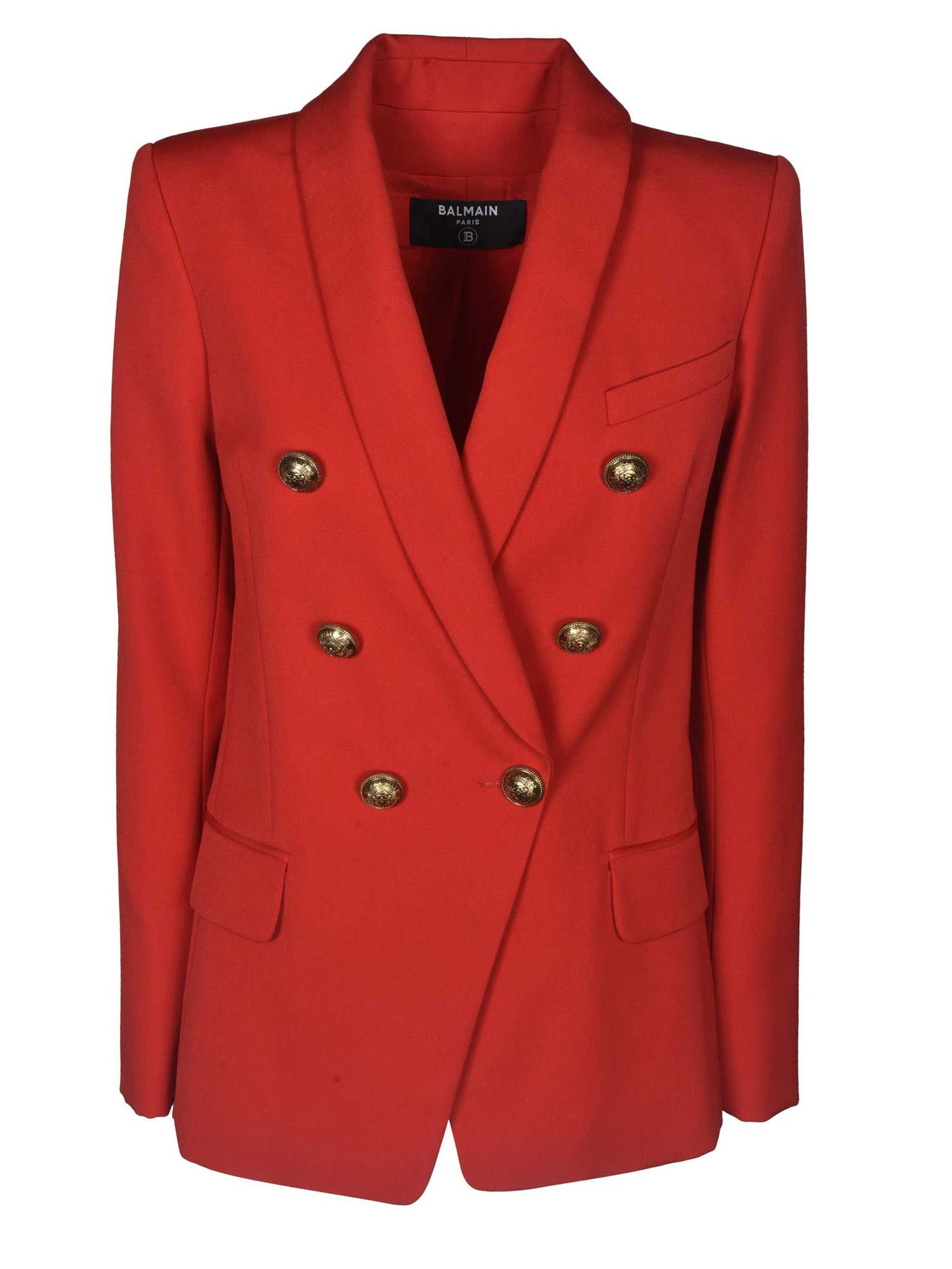 Balmain FLARED WOOL BLAZER IN RED