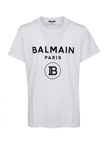 Balmain - Flock logo cotton T-shirt in white