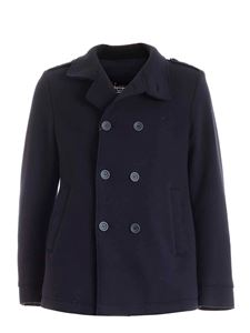 Herno - Tech double-breasted coat in blue
