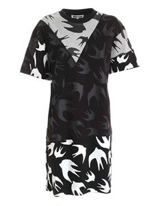 McQ Alexander Mcqueen - Swallow print dress in grey and black