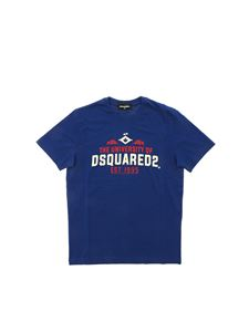 Dsquared2 - T-shirt blu stampa The University Of Dsquared2
