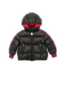 Moncler Jr - Azzurra black down jacket with branded bands
