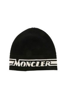 Moncler Jr - Logo inlay beanie in black